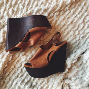Shoes - Leather open toed wedges with wooden detail